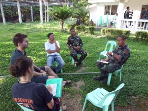 IPON asks members of the military and police about the security situation in the area